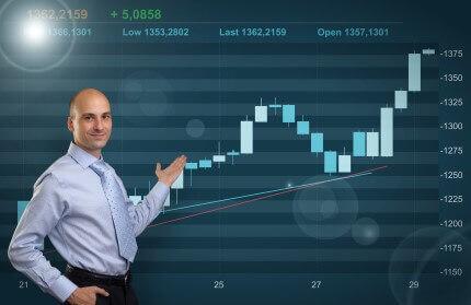 איש עסקים מציג גרף פעילות העסקית של החברה שלו